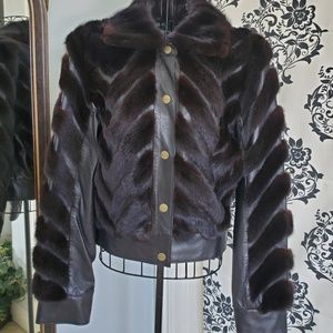 Stephanie Sarie leather and mink jacket